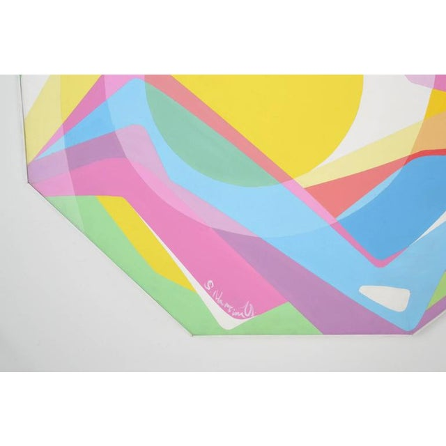 1970s Octagonal Abstract Oil on Canvas - Image 2 of 7