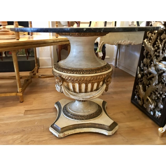 Hollywood Regency Antique Carved Italian Paint Decorated Pedestal Table W Granite Top For Sale - Image 3 of 5