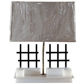 Mid-Century Black and White Moss Lamp