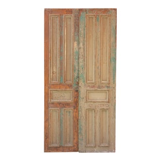 Original Spanish Colonial Painted Doors - a Pair For Sale
