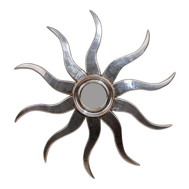 Silvered Wood Sunburst Mirror For Sale