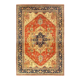 Pasargad Rust Fine Hand-Knotted Serapi Design Rug- 12′3″ × 18′ For Sale