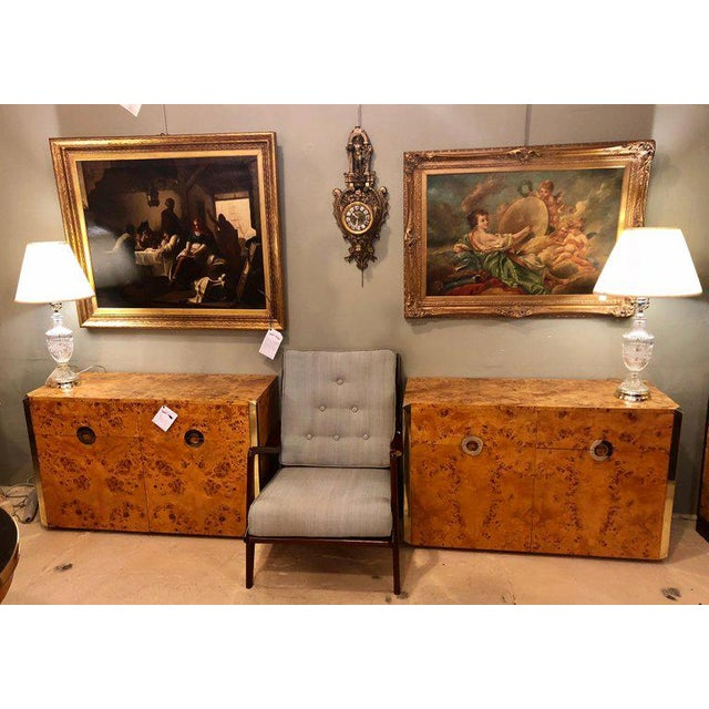 A fine custom pair of Willy Rizzo commodes or nightstands with brass accents in a light burl wood. These one of a kind...