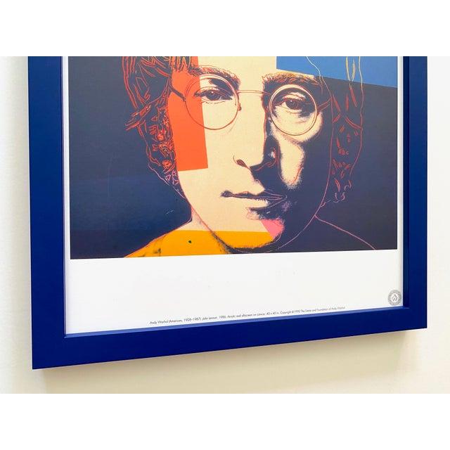 """Wood Andy Warhol Estate Vintage 1990 Framed Pop Art Lithograph Print """" John Lennon """" 1986 For Sale - Image 7 of 13"""