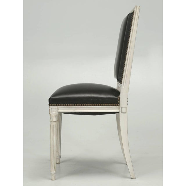 Black French Louis XVI Style Dining Chairs in Black Leather and Distressed White Paint - Set of 6 For Sale - Image 8 of 12