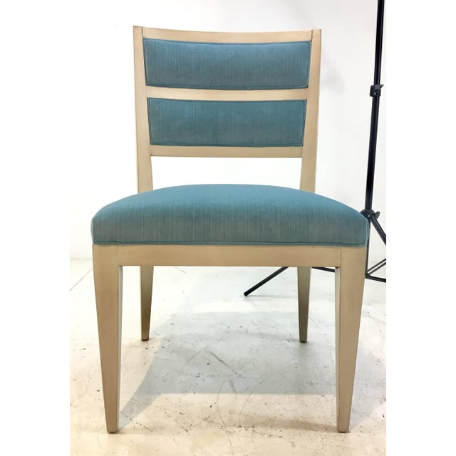 Modern Hickory White Modern Turquoise Velvet Greek Key Dining Chairs Set of Four For Sale - Image 3 of 11