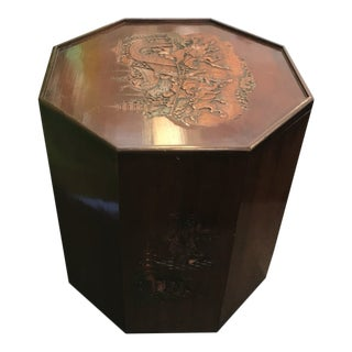 Asian Antique Hand Carved Octagonal Side Table For Sale