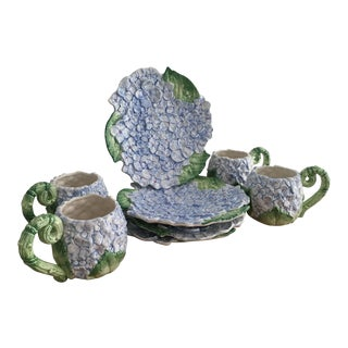 Vintage Blue Hydrangea Plates and Mugs - Set of 8 For Sale