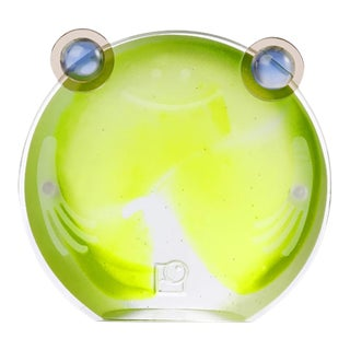 Liuli Crystal Chubby Frog Magnetic Photo Holder, Clear Green For Sale