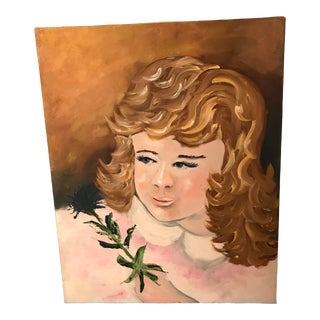 Vintage Mid-Century Original Portrait Painting For Sale