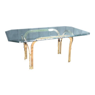 Vintage Mastercraft Style Gold Glass-Top Dining Table For Sale