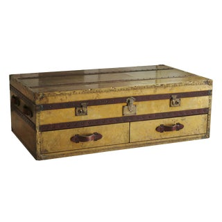 English Brass & Leather Campaign Style Coffee Table For Sale