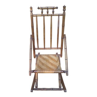 Mid-Century Rattan & Faux Bamboo Child Size Rocker For Sale