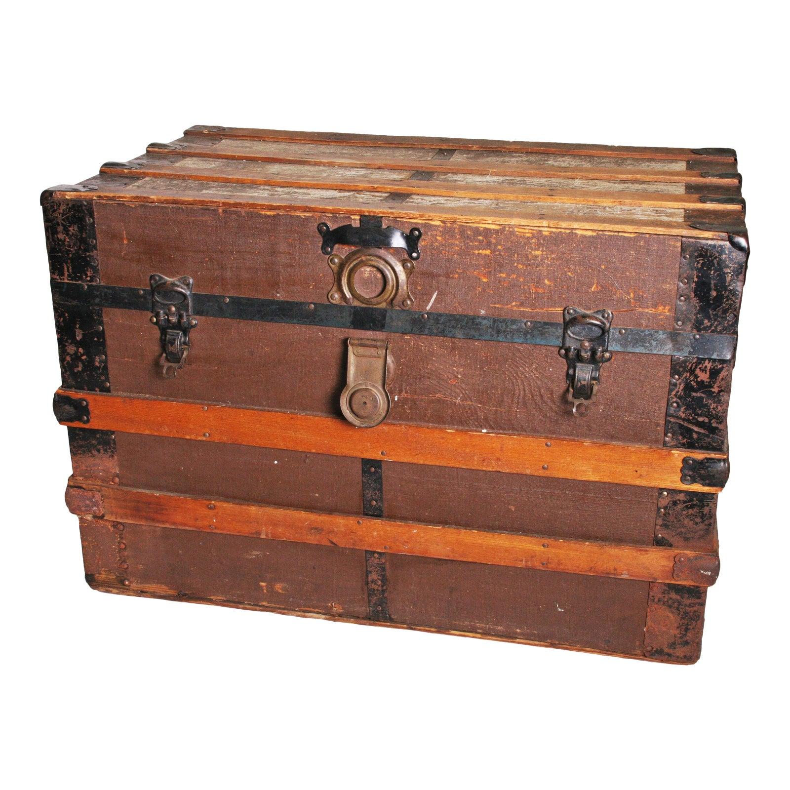Vintage Rustic Brown Wood Steamer Trunk | Chairish