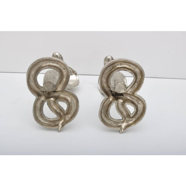 1920s Egyptian Revival Bronze Nickle-Plated Cobra Form Candle Holders - a Pair For Sale - Image 10 of 11