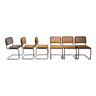 1970s Vintage Marcel Breuer Style Cesca Cane and Wicker Chrome Chairs - Set of 6 For Sale