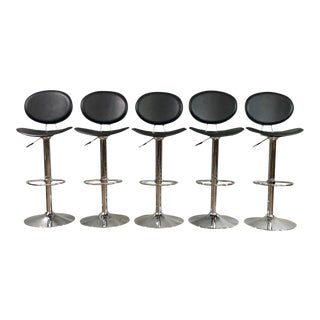Mid Century Modern Chrome and Leather Bar Stools- Set of 5 For Sale