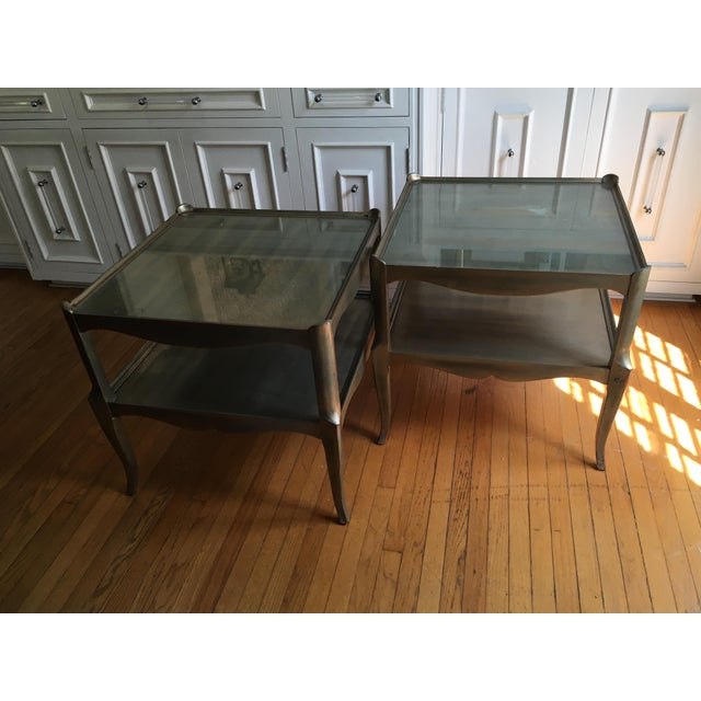 Leafed Glass Top Side Tables - a Pair For Sale - Image 12 of 13