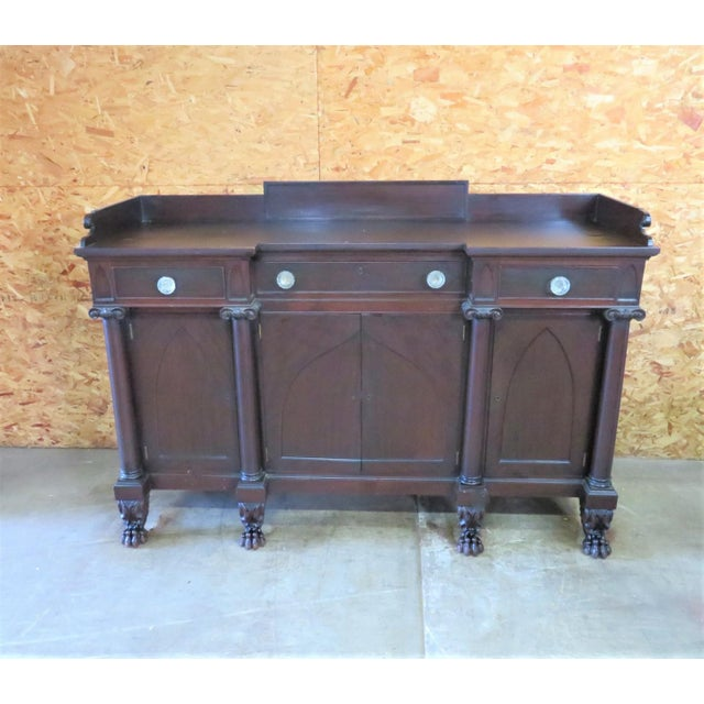 Mahogany Gothic Empire Sideboard made by Potthast Brothers in Baltimore, Maryland , Gothic arch panels doors Large carved...