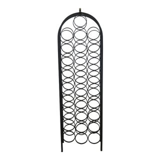 1990s Vintage Black Wrought Iron Dome Top Wine Rack For Sale