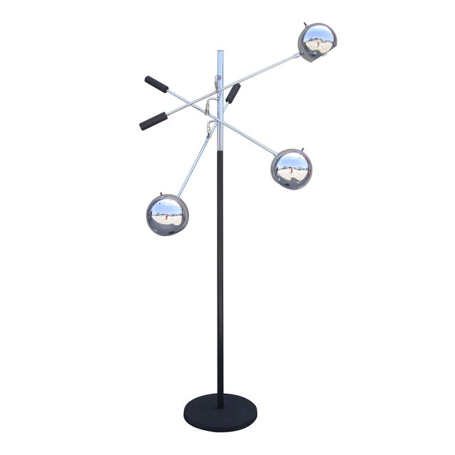 """A rare """"Orbiter"""" floor lamp by Robert Sonneman featuring three shades that can be rotated and fixed to any position. Each..."""