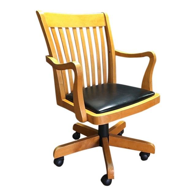 Adjustable Wood Banker's Desk Chair - Image 1 of 8