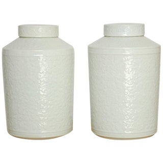 Chinese Floral Blanc De Chine Lidded Jars - A Pair