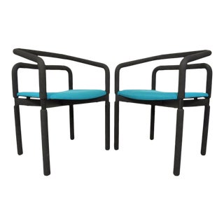 Pair of Vintage Mid Century Modern Metro Steelcase Arm Chairs Milo Baughman Style