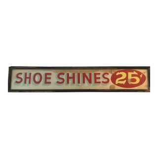 Early 20th Century Shoe Shine Sign For Sale