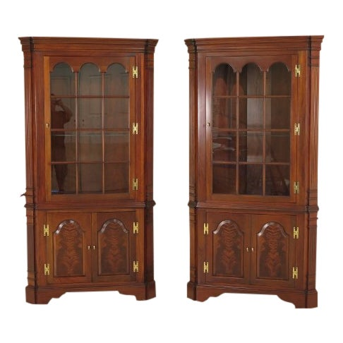 Councill Craftsmen Chippendale Mahogany Corner Cabinets- A Pair For Sale