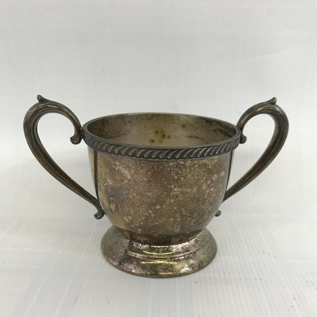 Boho Chic Vintage Silver Sugar Bowl or Trophy Cup For Sale - Image 3 of 7