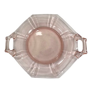Fostoria Fairfax Pink Glass Petit Fours Plate For Sale