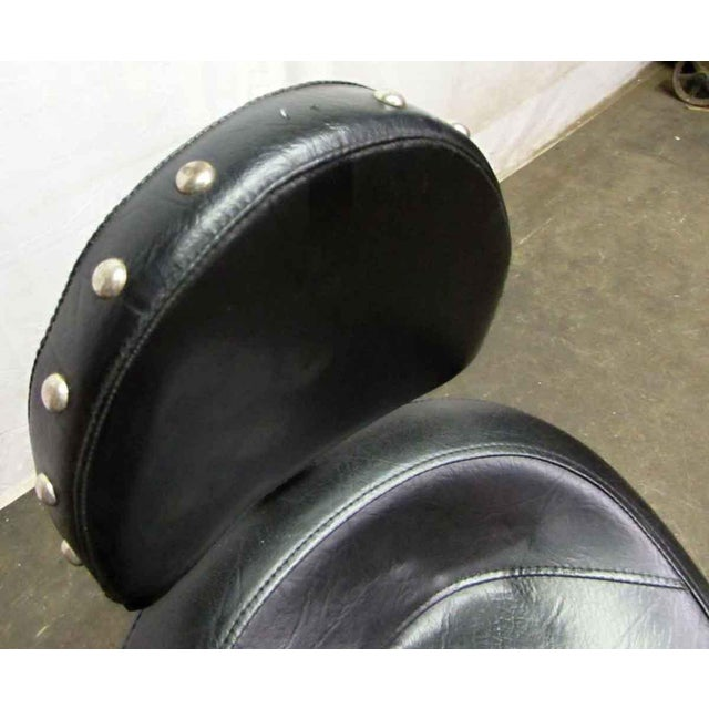 Rolling Harley or Motorcycle Seat Stool. Studded black leather seat on a rolling chrome base in excellent condition.