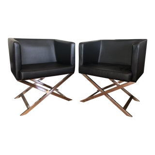 Mid-Century Modern Style Black Chairs- A Pair For Sale