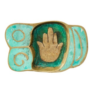 Pepe Mendoza Hand Dish Mid Century Mexican Modernist Bronze Malachite For Sale