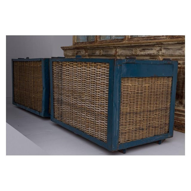 Metal Pair of Large French Industrial Wicker Baskets For Sale - Image 7 of 11