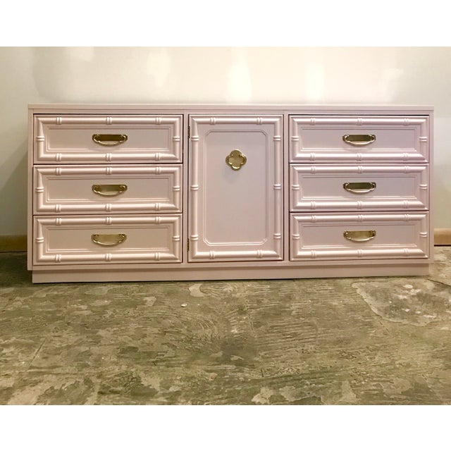 Pink Pink Lacquered Faux Bamboo Credenza For Sale - Image 8 of 8