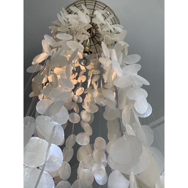 1970s 1970s Capiz Shell Spiral Chandelier For Sale - Image 5 of 9