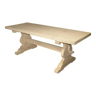 Circa 1900 Stripped and Bleached Oak Monastery Style Table From France For Sale