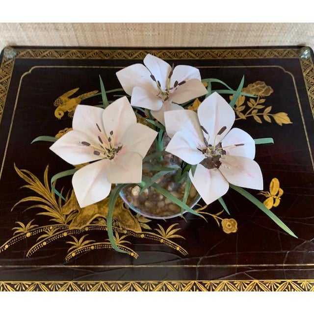 Tole Potted Flowers in Famille Rose Bowl For Sale - Image 4 of 10