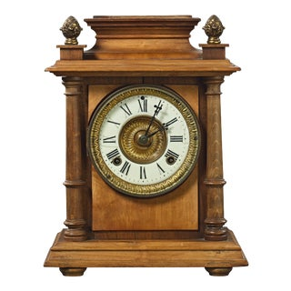 19th Century Federal Ansonia Wood Case Mantel Clock With Porcelain Face For Sale