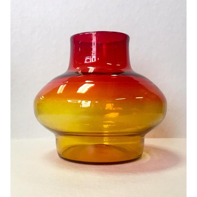1970s Vintage Blenko Americana Obré Glass Vase For Sale - Image 9 of 9