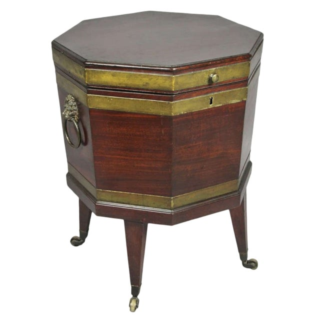 George III Mahogany and Brass Mounted Cellerette For Sale