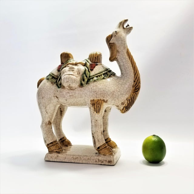 Vintage Chinese Ceramic Camel Buddha Statue Sculpture - Tang Style - Asian Mid Century Modern Palm Beach Boho Chic Chinoiserie For Sale - Image 11 of 12