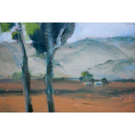 Metal Rush Ranch Eucalyptus Contemporary Plein Air Painting For Sale - Image 7 of 9