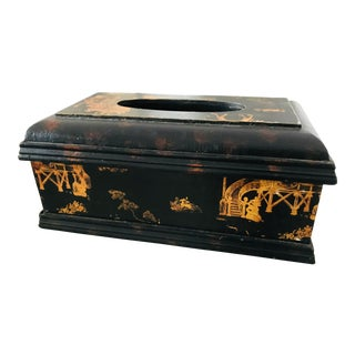 Vintage Chinoiserie Painted Black & Gold Tissue Box