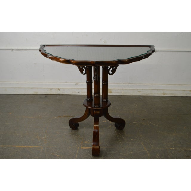 William IV/Regency Solid Mahogany Scalloped Top Demilune Pedestal Side Table For Sale - Image 11 of 13