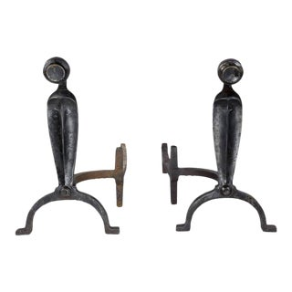 1920s American Patinated Andirons For Sale