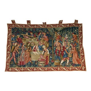 "French Medieval Large Tapestry - 54"" X 36"" For Sale"
