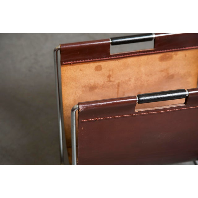 Mid-Century Leather and Chrome Magazine Stand - Image 7 of 9